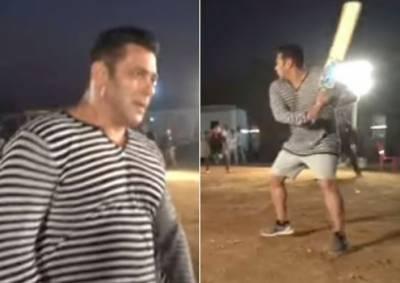"""سلمان خان کی فلم """"بھارت"""" کے سیٹ پر کرکٹ کھیلتے ہوئے ویڈیو وائرل"""