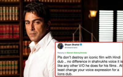 شاہ رخ کی جانب سے ہالی ووڈ فلم کی ہندی ڈبنگ پر شان پھٹ پڑے