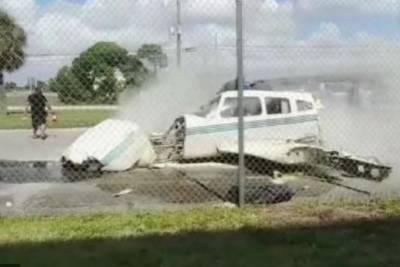 فلوریڈا ایئر پورٹ پر چھوٹا طیارہ حادثے کا شکار،ملازم محفوظ