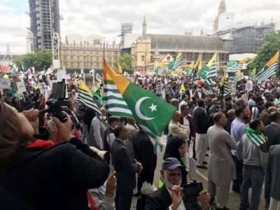کشمیریوں کے زیر اہتمام لندن میں بھارت کے خلاف احتجاجی مارچ