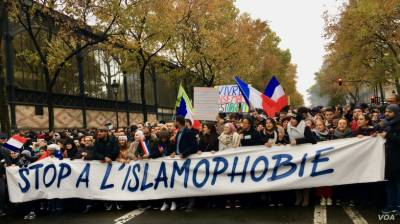پیرس میں ہزاروں افراد کا اسلاموفوبیا کے خلاف احتجاج