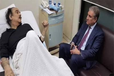 شاہ محمود کی نعیم الحق کی عیادت کیلئے مقامی ہسپتال آمد