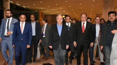 سیکرٹری جنرل اقوام متحدہ انتونیو گوئترس چار روزہ دورہ پر پاکستان پہنچ گئے