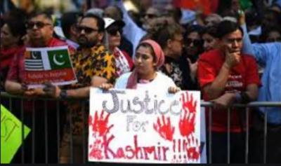 کل جماعتی حریت کانفرنس کا بھارتی مظالم کیخلاف اقوام متحدہ کے مبصر مشن کے سامنے مظاہرہ