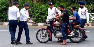 The warden fined the motorcyclist Rs 42,000
