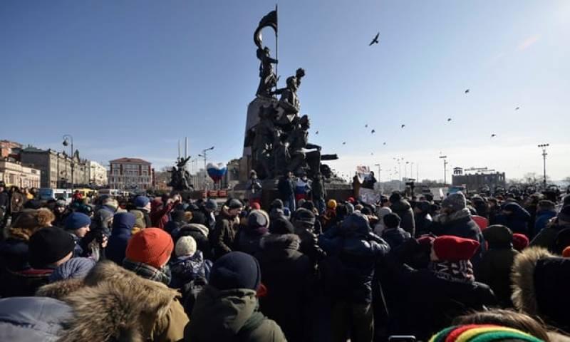 روس میں صدراتی انتخابات کے معاملے پرالیکشن کے بائیکاٹ کی ریلی